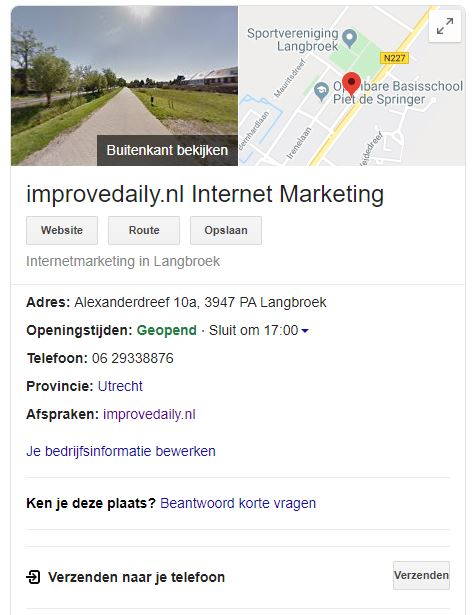 SEO Audit Local SEO Google mijn bedrijf Improvedaily.nl Internet Marketing